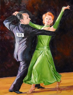 Dance, on canvas and in demonstration, at Phelps Mansion, Binghamton for First Friday