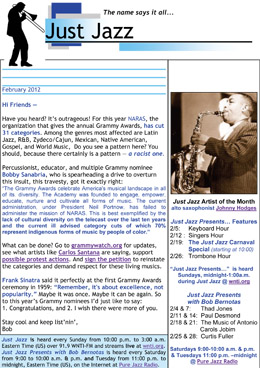 Just Jazz February 2012 Newsletter