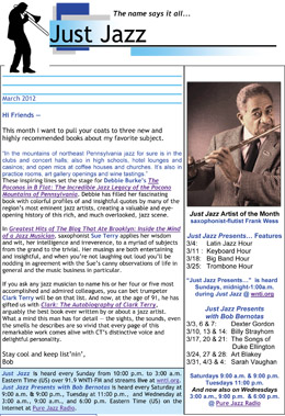 Just Jazz March 2012 Newsletter