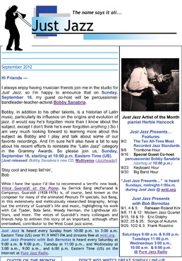 Just Jazz September 2012 Newsletter